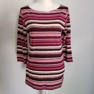 Ann Taylor Loft burgundy pink striped top